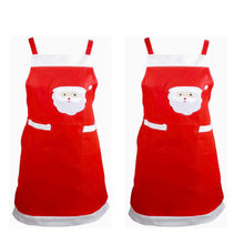 Novelty Christmas Apron Kitchen Non-woven Christmas Cooking Aprons for Woman Santa Claus Christmas Dinner Party Decorations(China)