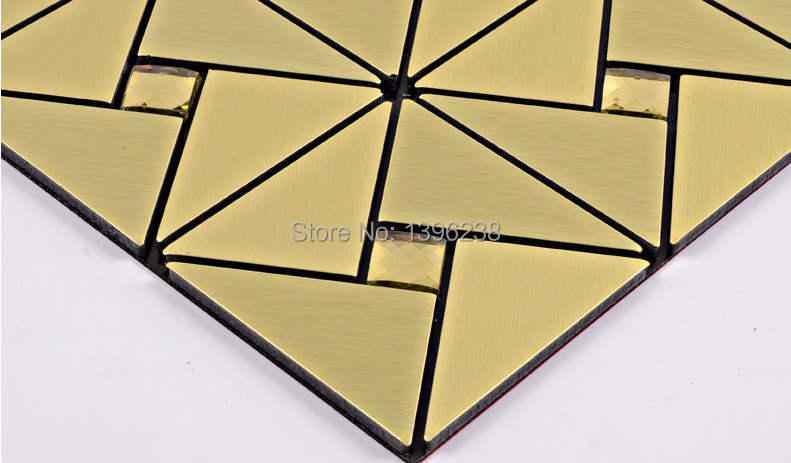 Aluminum Plate Metal Mosaic Tile Puzzle Mirror TV Backsplash Wall Decor Europe Style Silver Brown Gold Glass Mosaic Tile,LSLCB03<br>