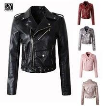 Ly Varey Lin Frauen Faux Lederjacke Pu Motorrad rote Jacke Umlegekragen Rosa  Biker Reißverschluss Design Punk Schwarz mantel b466338cd8