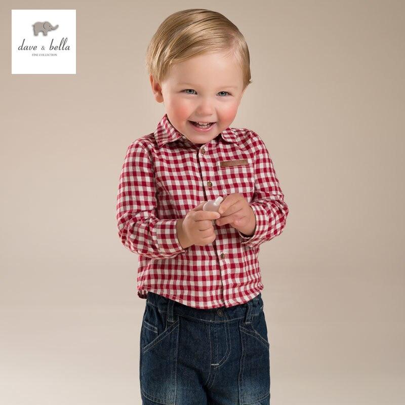 DB3941 dave bella autumn fall baby boys shirt baby red plaid shirt  boy cotton  tops baby shirts baby boys plaid shirt<br><br>Aliexpress