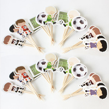 24pcs football basketball baseball toy story dog patrol sports boy Cupcake Toppers Pick decoration kids birthday party supplies