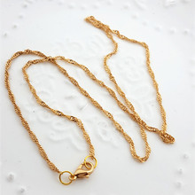 2017 Free Shipping 2mm gold Fine Water wave chain Necklace Chains With Lobster Clasps Set Finished chain For Girl Woman