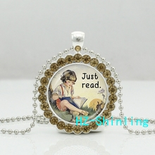 New Just Read Book Necklace Alice Wonderland Crystal Pendant Crystal Necklace Jewelry Ball Chain Long Necklace
