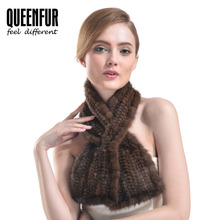 QUEENFUR Unisex Genuine Knitted Mink Fur Scarf Real Mink Fur Ring For Men And Women Fashion 2016 New Winter Fur Scarves Shawl