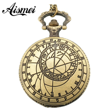 Free Shopping Pocket watch wholesale antique fashion High Quality vertebra retro alloy compass pocket watch(China)