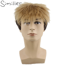 Similler Short Fluffy Straight Full Bang None Lace Machine Made Synthetic Hair Wig For Men Cosplay Nature Black(China)