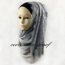 Fashion New Style  Plain Cotton Hijabs With Wide Lace Trims Muslim Hijab Embroidered Flower Scarves Islamic Head Wraps