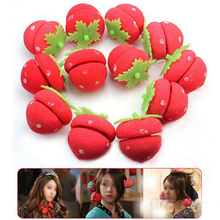 New Stylish 12pcs Strawberry Balls Hair Care Soft Rollers Styling Curlers Lovely DIY Tools Cai0462(China)