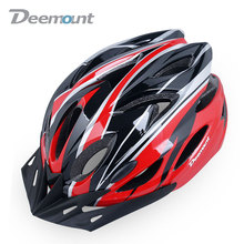 Deemount Women's Men's Bicycle Helmet Safety MTB Cycling Mountain Bike Helmet Cap With Light Integrally In-mold 18 Vents PC EPS(China)