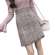 Buy 2017 new fashion womens woolen skirt autumn winter plaid irregular tassel slim hip package mini skirts female work saia jupe for $24.63 in AliExpress store