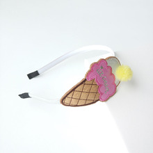 10pc/lot Artificial Leather Ice Cream Hairbands with Gauze Pom Pom Ball Kid Dessert Fashion Head Band Sweet Food Girl Headband(China)