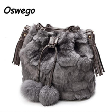 2017 Fashion Design Faux Fur Bucket Drawstring Bag Leisure Handbag Women Leopard Fluff Crossbody Tassel Hairball Decoration Bags