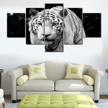 5PCS/Set White Tiger Oil Painting Art Pictures Large Modern Painting By Numbers Animal Canvas Painting Home Wall Decoration