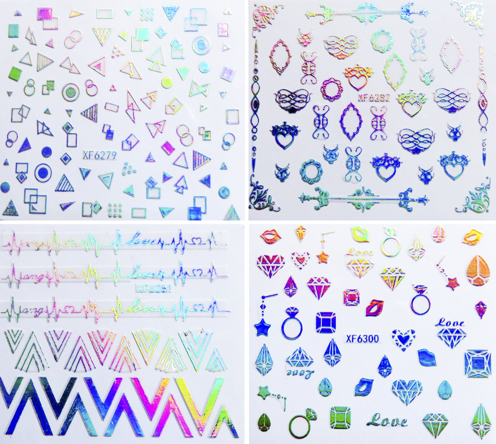 Nail 3D Iridescent Rainbow Decals 24 Designs, Water Transfer Nail Stickers ,Sticking On Nail Tips For Beauty#BXF6279~BXF6302(China (Mainland))