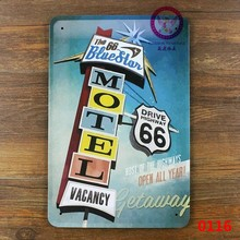 "NEW 2015 100% high quality "" Motel route 66 road USA "" Metal tin Crafts painting Retro Signs for Home Bar Pub 20x30 cm"