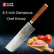 Sunlong 67layers Damascus steel kitchen knife pattern steel slice knife Cleaver Melaleuca steel chef knife vegetable/meat knife(China)