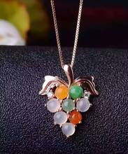 natural  Multi-color jade pendant S925 silver Natural gemstone Pendant Necklace trendy Luxury Grape string women gril jewelry