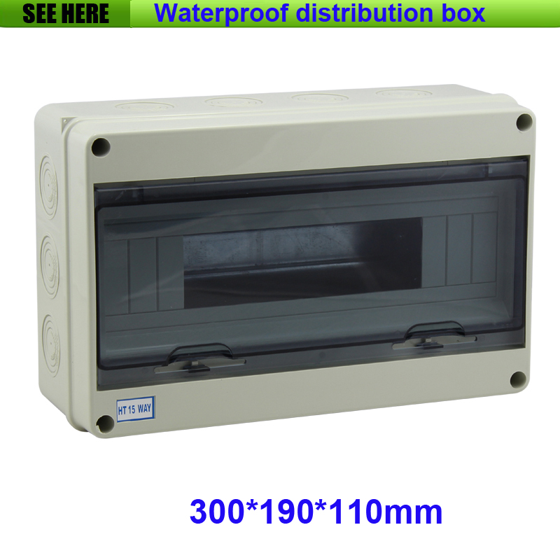 Free Shipping Clear PC Cover ABS Body 15Way Waterproof  IP65 Electrical Distribution Box Size 300*190*110mm<br>