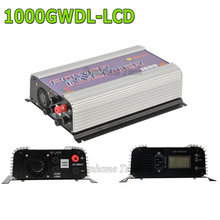 1000W MPPT pure sine wave on grid inverter for DC 22-60V/45-90V wind turbine, LCD wind grid tie inverter with dump load