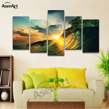 5 Panel Canvas Art Susnet Seawave Seascape Ocean Landscape Print on Canvas Painting for Living Room Bedroom Framed Ready to Hang(China)