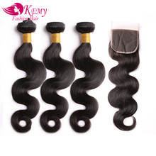 KEMY Body Wave Remy Human Hair Bundles With Closure Black For Hair Salon Low Ratio Longest Hair PCT 20% Brazilian Hair Weaves(China)