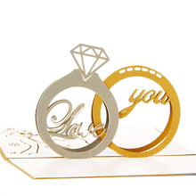 3D Pop Up Paper Laser Cut Greeting Cards Creative Handmade Diamond Ring Birthday Christmas Anniversary Souvenirs Postcards C42