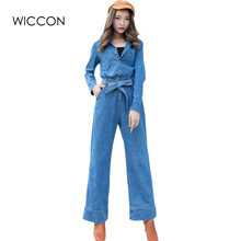 Autumn New Fashion Women Long Sleeve Jeans Jumpsuit Belt Waist Casual Single Breasted Full length Overalls Lady Coveralls WICCON(China)