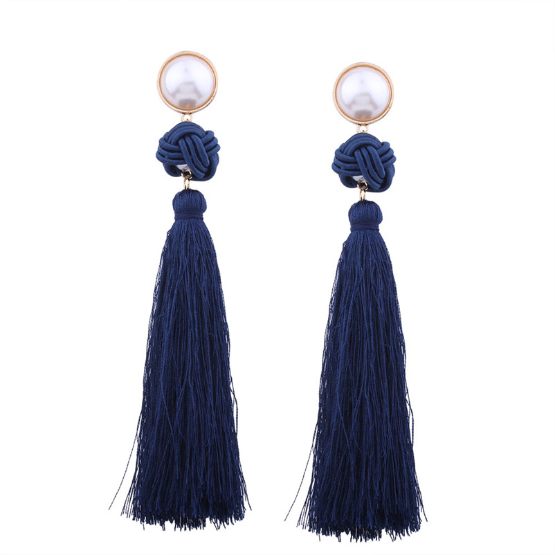 Trendry Earrings for Women Vintage Bohemian Fashion Weave Tassel Earrings Long Drop Earrings Jewelry for gift Brincos J05#N (25)