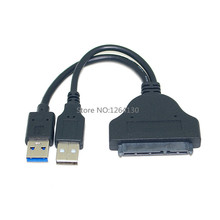 "New High quality USB 3.0 to SATA 22P 2.5"" Hard Disk Driver Adapter with USB Power cable- Transfer Rate Up to 5Gb/Sec Max"