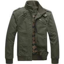 Men's Casual jackets cotton washed coats Army Military Outdoors Stand collar Outerwear jaqueta masculina Coat parka men