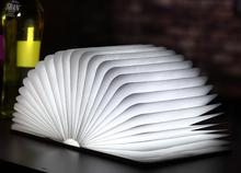Christmas gift novel 4.5W folding page turning LED book light Desk/table lamp rechargeable portable night light wooden body