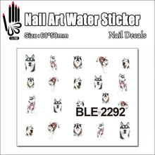 1 Sheet Hot Nail BLE2292 Husky Cartoon Dog Nail Art Water Transfer Sticker Decal Sticker For Nail Art Decoration(China)