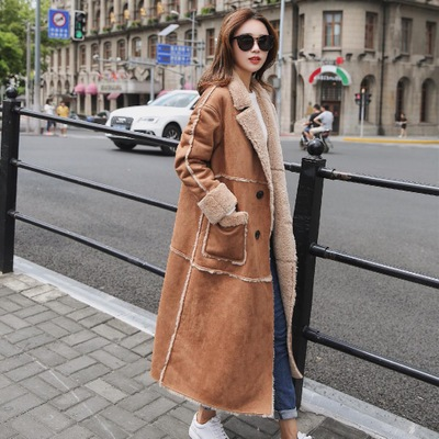 Women lambs wool coat female long thick warm shearling coats faux suede leather jackets autumn winter female outerwear
