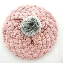 Fashion New Arrive Baby Kids Girls Warm Winter Warm Knitted Crochet Beret Beanie Hat Cap(China)
