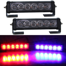 2pcs 36W 12v Strobe car Warning Light Truck Motorcycle LED Bar Daytime Running Lights Red Blue White led Police Emergency Light(China)