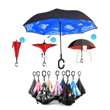 Travel Umbrella Strong Waterproof C Shape Double Layer Reverse Car Umbrella Open/Close In The Narrowest Space Creative Graphic(China)