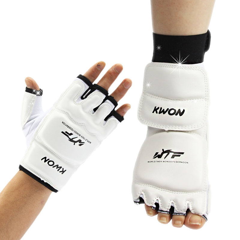 Taekwondo Mens T-Shirt Belt Suit Sparring Kick Pads Shoes Gift Bag Kit Uniform