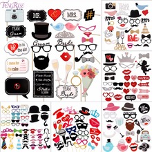 FENGRISE Fun 58 pcs Photo Booth Happy Birthday Props DIY Mr Mrs Glasses Mask Party Accessories Photobooth Kid Wedding Decoration