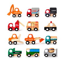 12pcs/lot traditional wooden toys wood Wrecker car vehicle(China)
