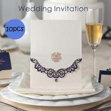 10Pcs Crystal Wedding Invitations Card Laser Cut Love Heart Invitation Cards Birthday/Baby Shower/Business/ Party L35