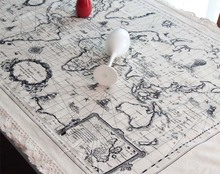 2014 New Arrival fashion cotton/linen tablecloth World Map Trip Vintage &Simple Pattern table linens for Home Decor