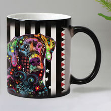New Colorful dogs Heat Reveal Coffee mug Ceramic Color changing Magic Mugs tea cups Christmas gift 11OZ