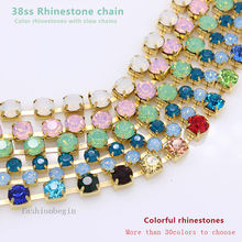 Top 1-Row 1yard ss38 8mm opal color Crystal Rhinestone cup brass sparse Chain necklace Trims craft Wedding cakes banding jewelry(China)