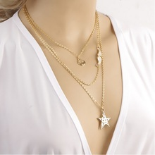 new Punk Style Multi Element Pendant Necklace Star Angel Wings Trees Multilayer pendant Necklaces XL-493(China)