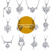 Hot Sales Genuine 925 Silver The Signs of the Zodiac Pendant Necklace with Movable AAAAA Zircon Rhodium Plated Necklaces