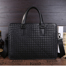 Brand Men Genuine Leather Messenger Shoulder Bag Male Black Business Handmade Weave Crossbody Knitted 15 Inch Laptop Brifcase(China)