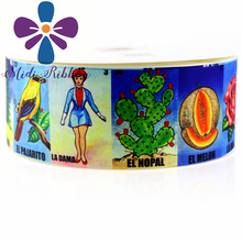 9-75mm Mexican Bingo Game La Loteria Print Grosgrain Ribbon/foe 50 Yards/Roll handmade hair bow clip tie headband gift wrapping(China)