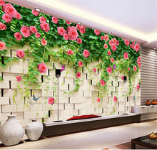 Modern 3D View Briar Rose and Brick Photo Wallpaper Wall Mural Custom Large size Non-woven Canvas ROOM DECOR TV Background Wall