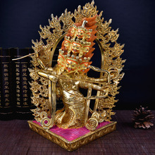32cm large # GOOD -Buddhism # bless Safety Health Talisman #efficacious Protection Nepal Gold-plated Thermal Hula Buddha statue
