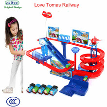 akitoo 3 types Kindergarten Thomas rail car electric track small train children toy Thomas Alloy karting train early education